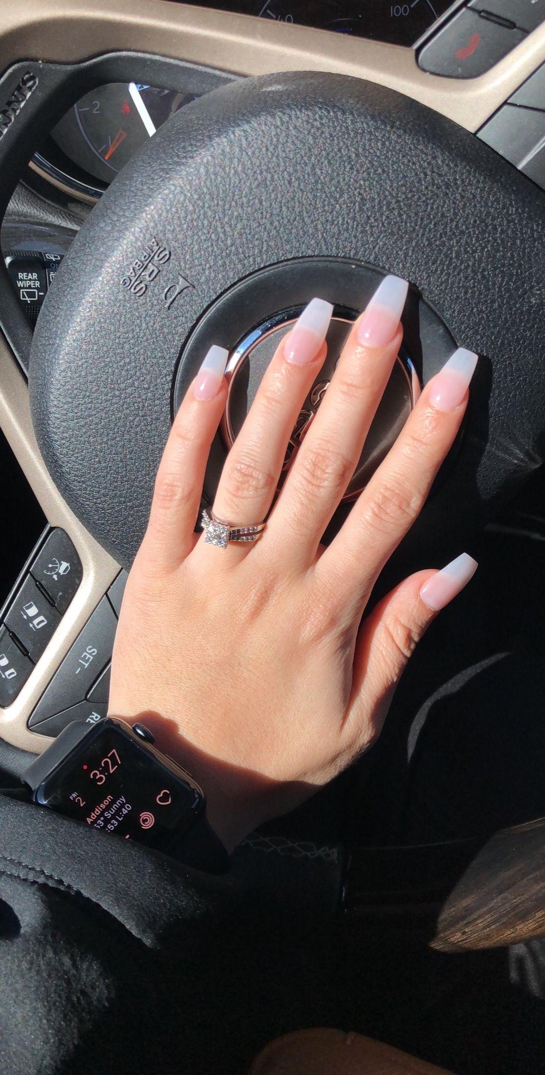 Sheer gel nails coffin shape apple watch nail inspo natural nails ...