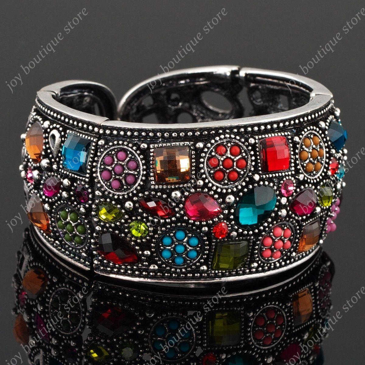 Multicolor vintage rhinestone crystal bangle fashion bracelet cuff