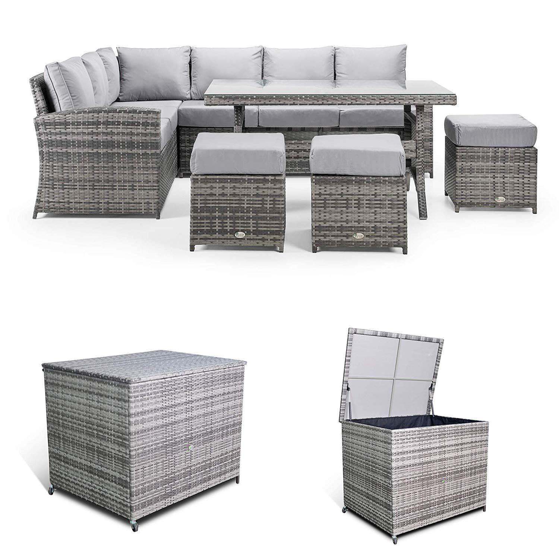 Club Rattan Harmony Corner Sofa With Dining Table Storage Box