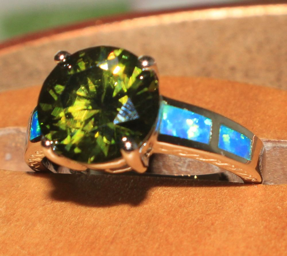 blue fire opal ring Gemstone silver jewelry Sz 8.25 elegant green zircon Mh4E