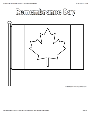 Remembrance Day Coloring Page With The Canadian Flag Remembrance