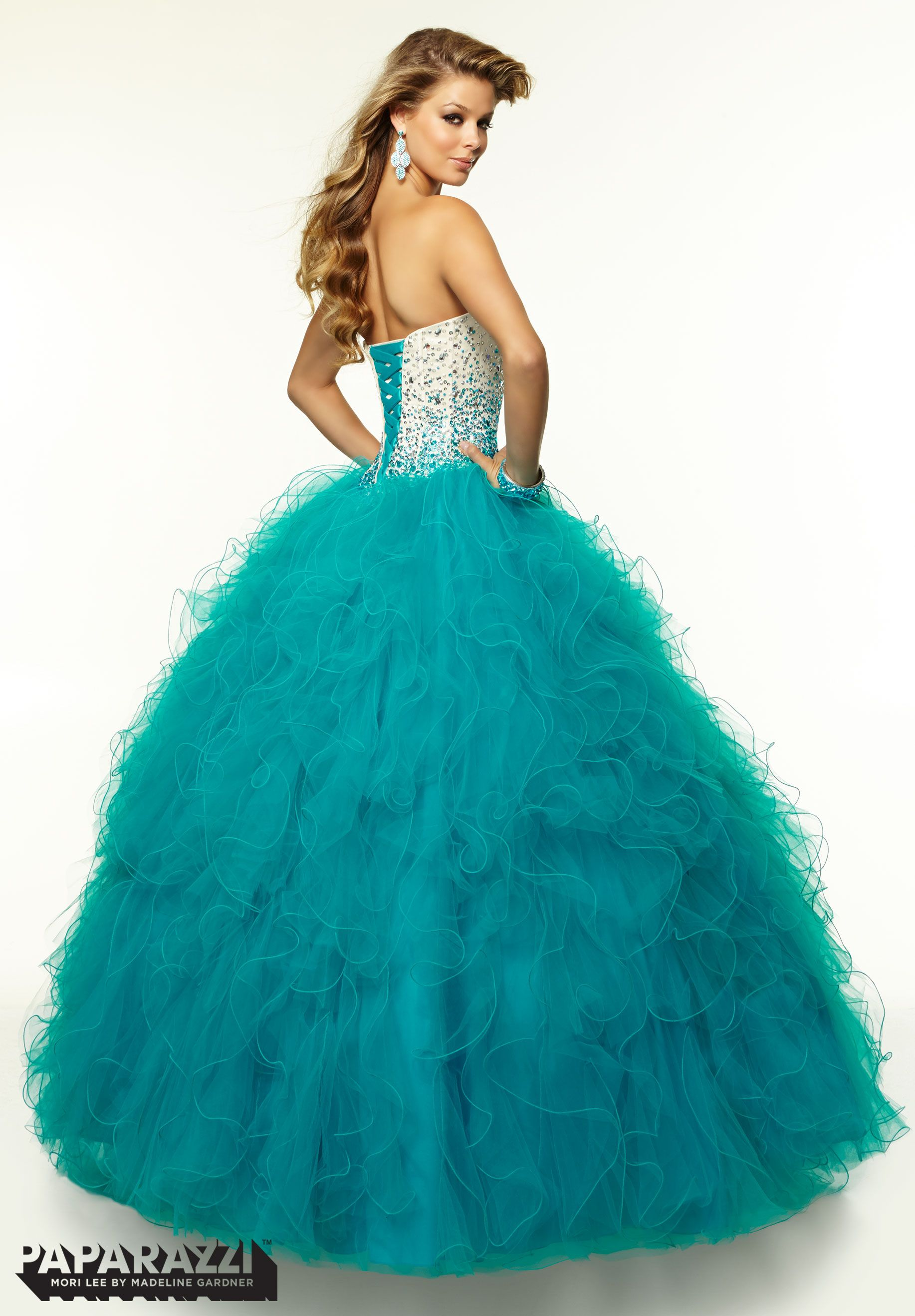 97086 Prom Dress / Gown Satin Ombre Beaded Bodice with Ruffled Tulle ...