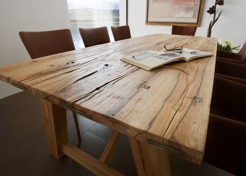 Esstisch Tisch Balkeneiche Massiv Grein1 Designermobel Moderne
