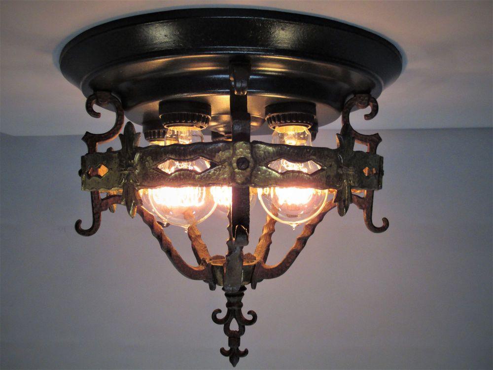 Deco Spanish Revival Tudor Flush Mount Ceiling Light Fixture w// Original Finish