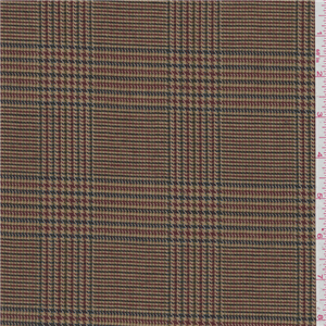 """*1 YD PC--Antique Gold Plaid Wool Suiting - 24971-C1 - Antique Gold Plaid Wool Suiting This light/medium weight fabric has an antique gold, blue, green, burgundy and white Glen plaid design. Its soft, brushed surface makes it a great choice for suits, slacks and dresses. 100% Wool 63"""" wide Hand wash cold or dry clean Compare to $25.00/yd now $8"""