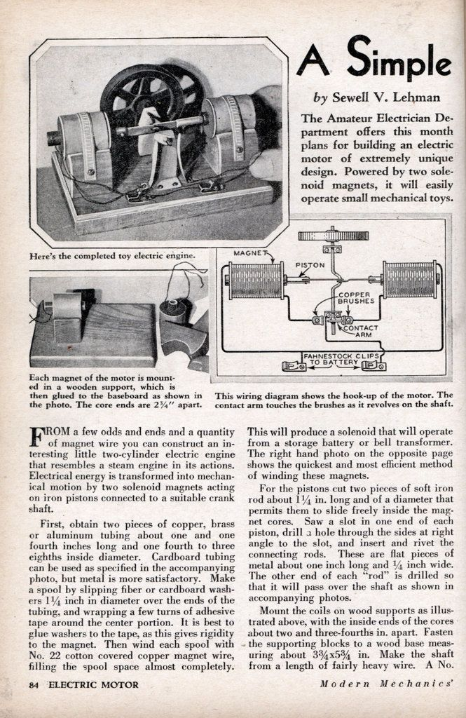 A Simple 2 Cylinder Electric Engine How To Build It Jan 1932