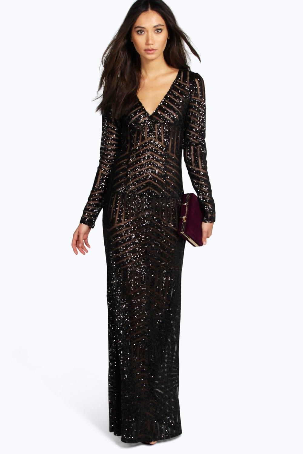 boohoo Boutique Mia Sequin Mesh Plunge Neck Maxi Dress - black  70.00 AT  vintagedancer.com f3a1794e6779