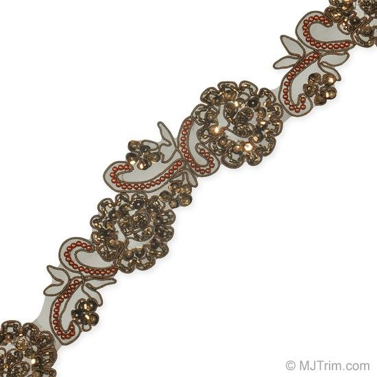 """2"""" PEARL AND SEQUINED BEADED FLORAL TRIM mjtrim.com"""