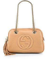 44240a4c0a9e Gucci Soho Leather Chain Shoulder Bag beige - Lyst