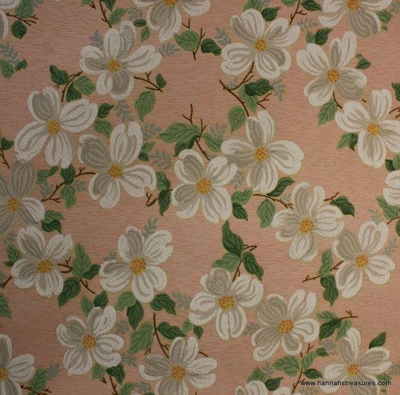 1940 S Vintage Wallpaper White Dogwood By Hannahstreasures