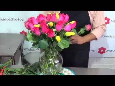 Regalar Flores Tulipanes Amarillos y Rosas Gracias Fucsia