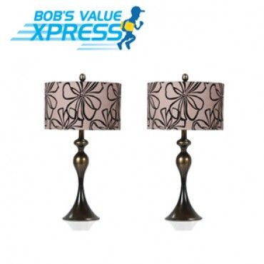 Set Of 2 Brown Floral Lamps Bobs Furniture Lamp Home Accents