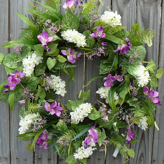 Purple and White Spring Wreath  White Lilac and by HornsHandmade