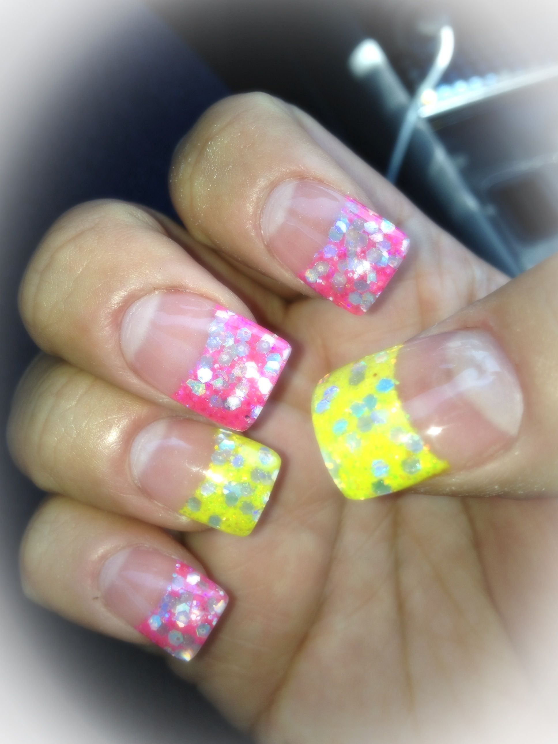 Pink Yellow Glitter Acrylic Nail Tips