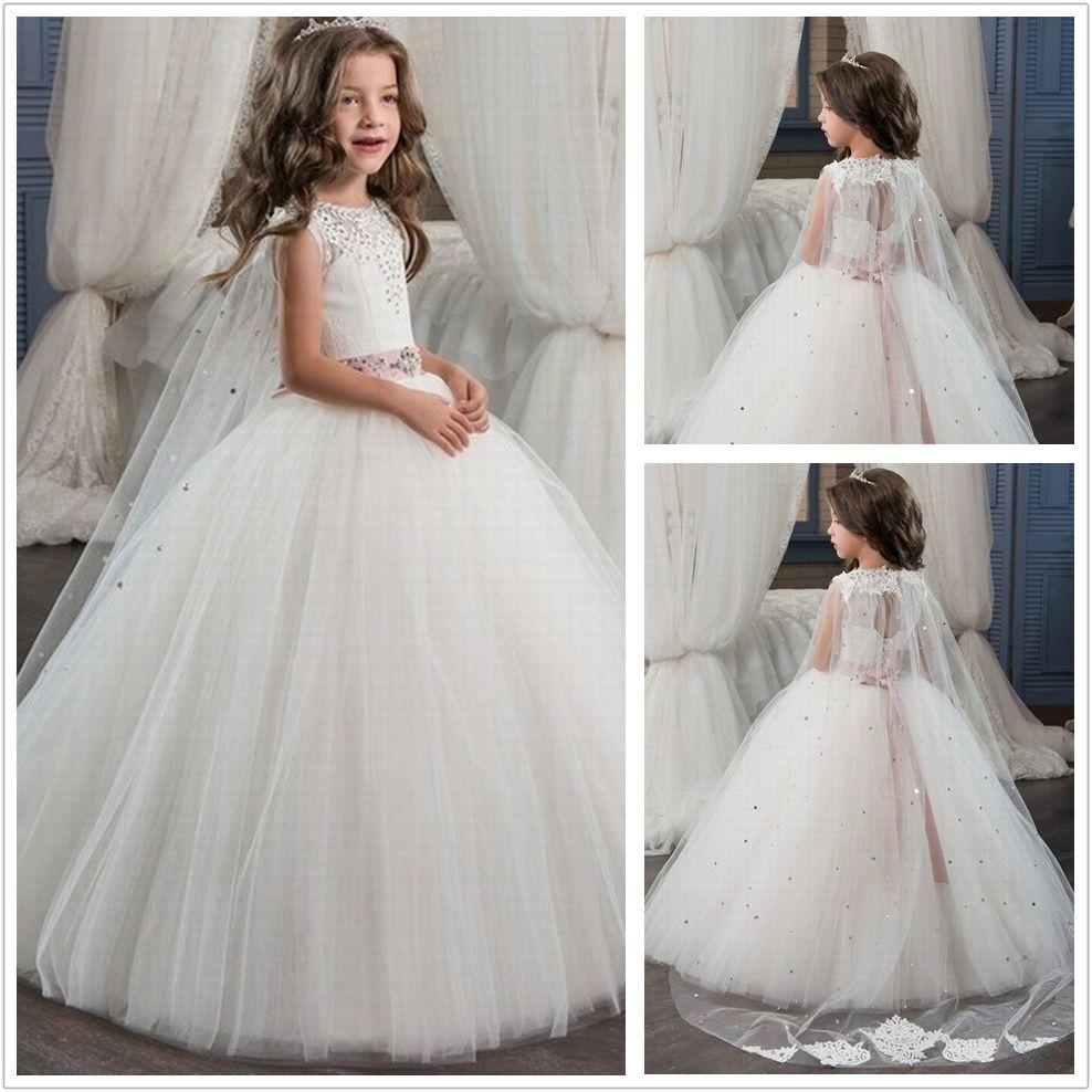 Romantic ball gown tulle beading flower girl dress oneck for