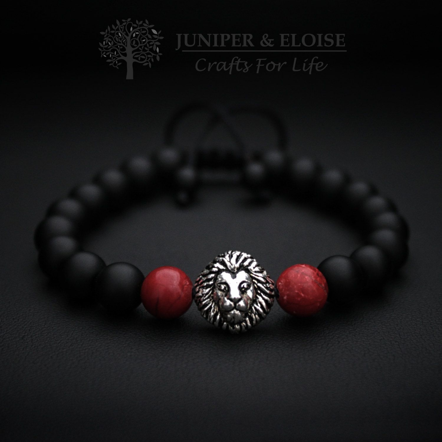 Red lion bracelet silver lion jewelry for men and women