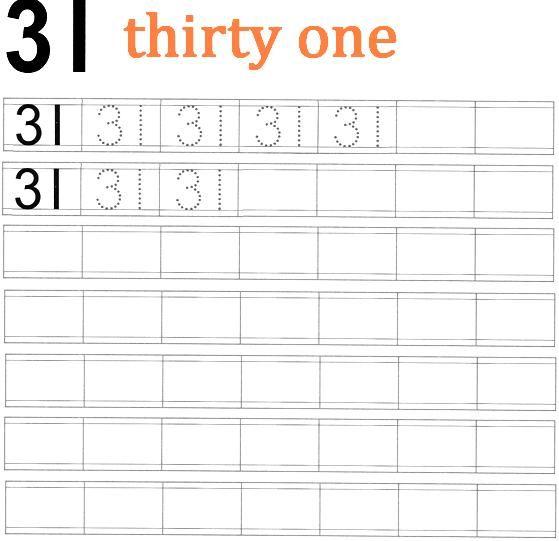 Worksheet on Number 31 | school fun | Numbers preschool ...