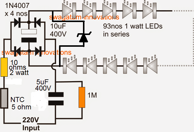 Simplest 100 Watt Led Bulb Circuit Homemade Circuit Projects In 2020 Circuit Projects Electronic Circuit Projects Electrical Circuit Diagram