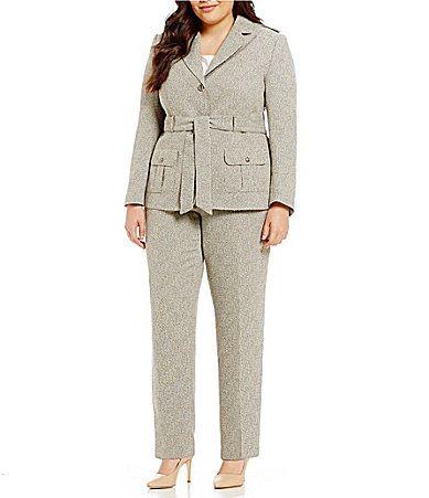 f847315306066 John Meyer Plus Military Belted 2Piece Pant Suit  Dillards