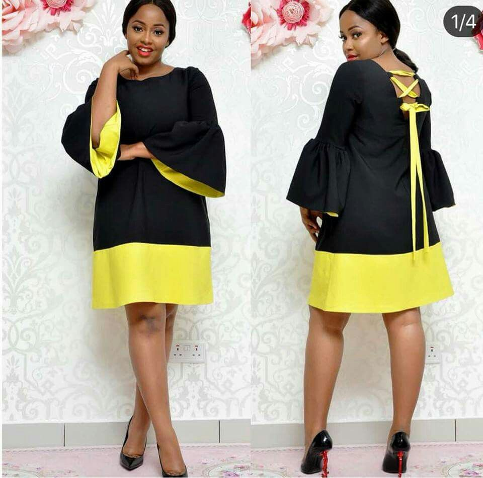 I love the subtle yellow inside the bell sleeves super cute modern