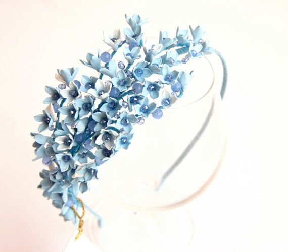 Blue hair wedding Headband, flower hair accessory, flowers girl crown, women gift, bridal hair piece, bridal headband, Headband baby hair #babyhairaccessories