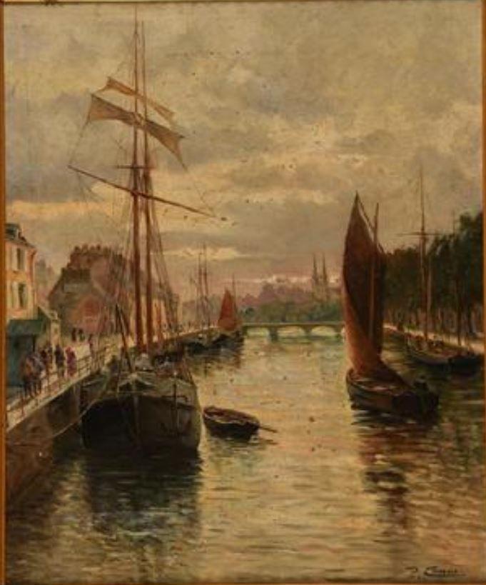 Louis Le Camus Xix Les Quais De L Odet Quimper Peintre