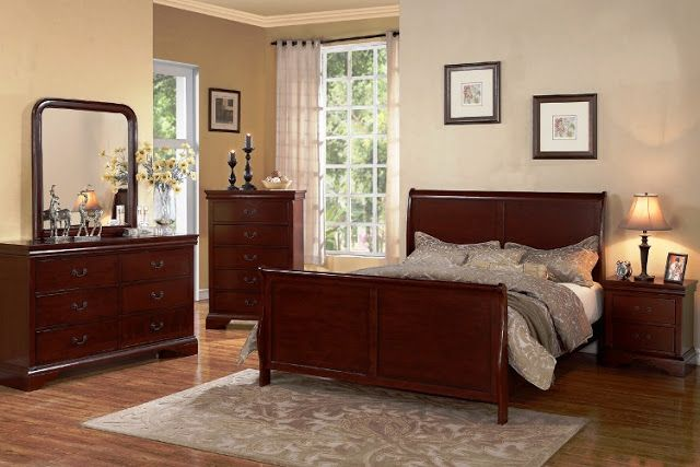 Light Cherry Wood Bedroom Furniture Sets Elegant Classic Design