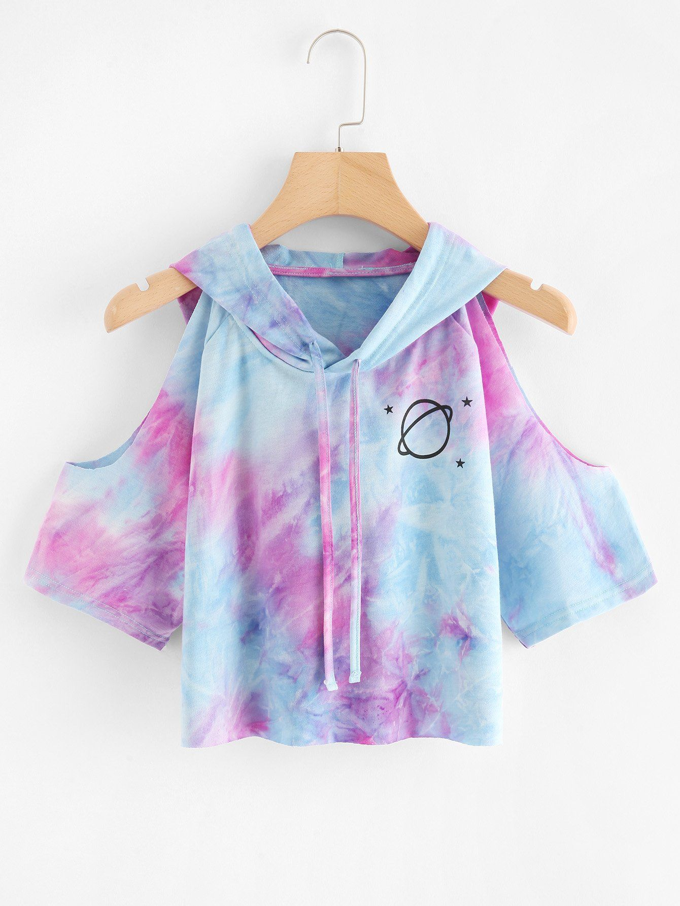 Tie Dye Planet Print Open Shoulder Hooded TeeFor Women-romwe – şık