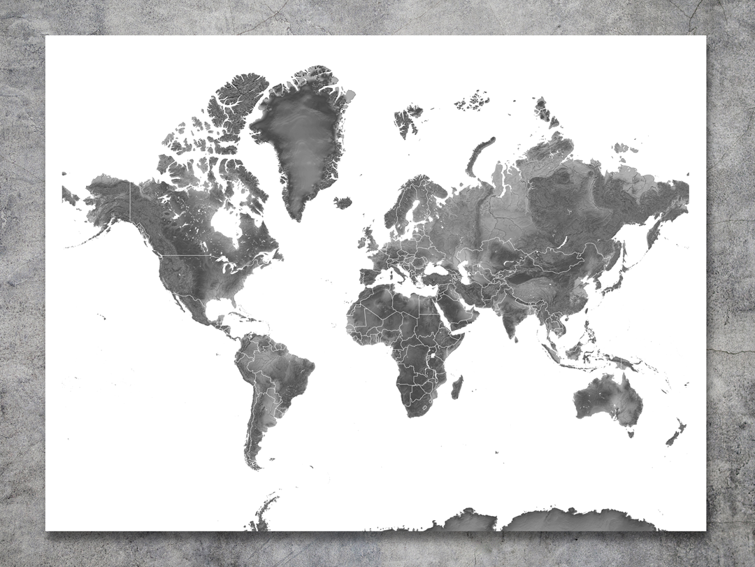 Black and white world map art print available in different sizes black and white world map art print available in different sizes from mapsasart gumiabroncs Image collections