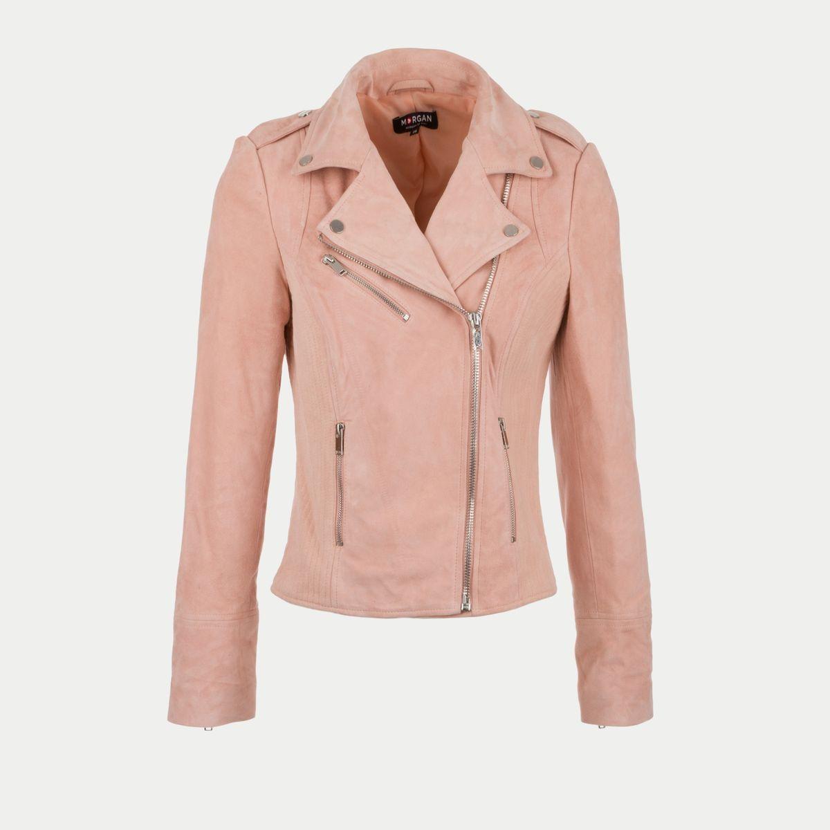 434f10753997 Blouson en cuir pour femme - Suédine Rose - MORGAN - Mode