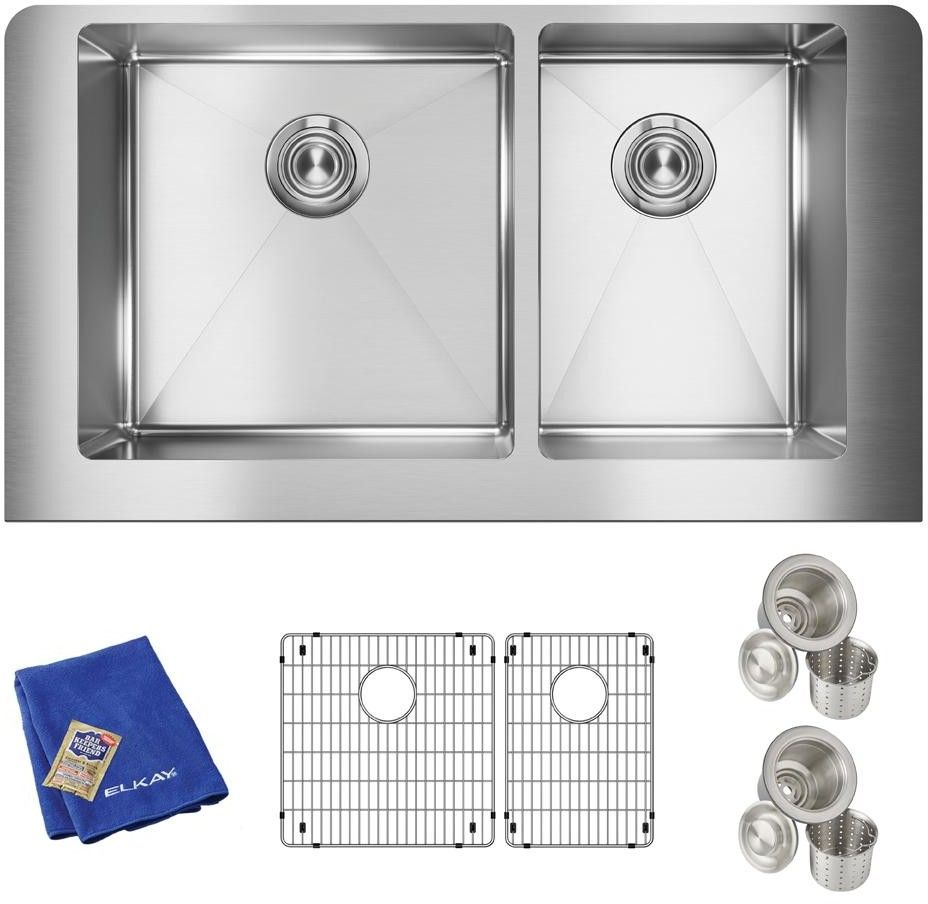 Elkay Ectruf32179rc 36 Inch 60 40 Double Bowl Farmhouse Kitchen Sink Kit With 18 Gauge Stainless Steel Sound Dampening And Large Capacity Undermount Kitchen Sinks Double Bowl Undermount Kitchen Sink Stainless Steel Apron Front Sink