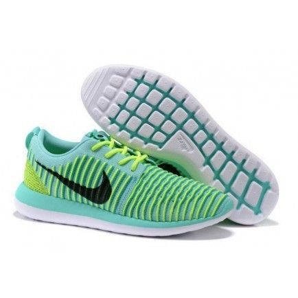 meet 0b274 11183 Roshe Two Low Flyknit Shoes Green Black White - Roshe Run ...