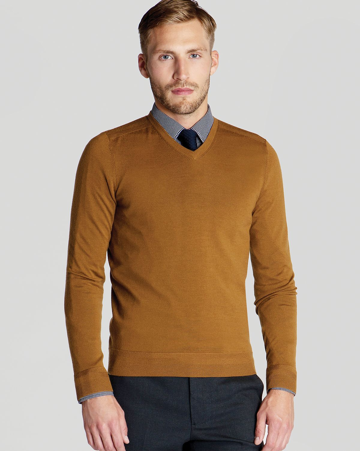 Men's Brown Bagbo Merino V Neck Sweater | Ted baker and Ted