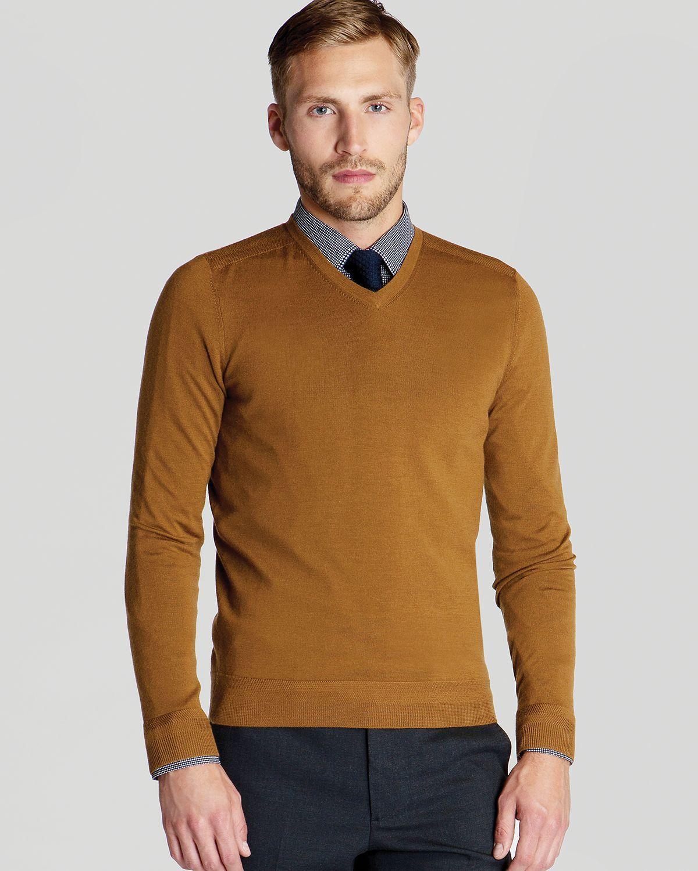 Ted Baker - Brown Bagbo Merino V Neck Sweater for Men - Lyst