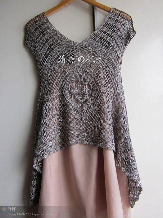 DulcesAmigus: Patrones a crochet: jersey vestido de verano mujer ...