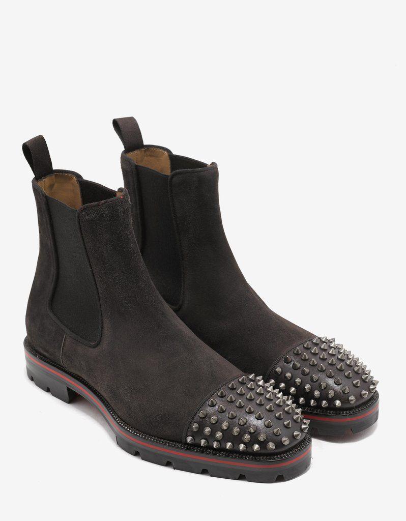 8a3e80dde55d Christian Louboutin Melon Spikes Flat Brown Suede Chelsea Boots ...