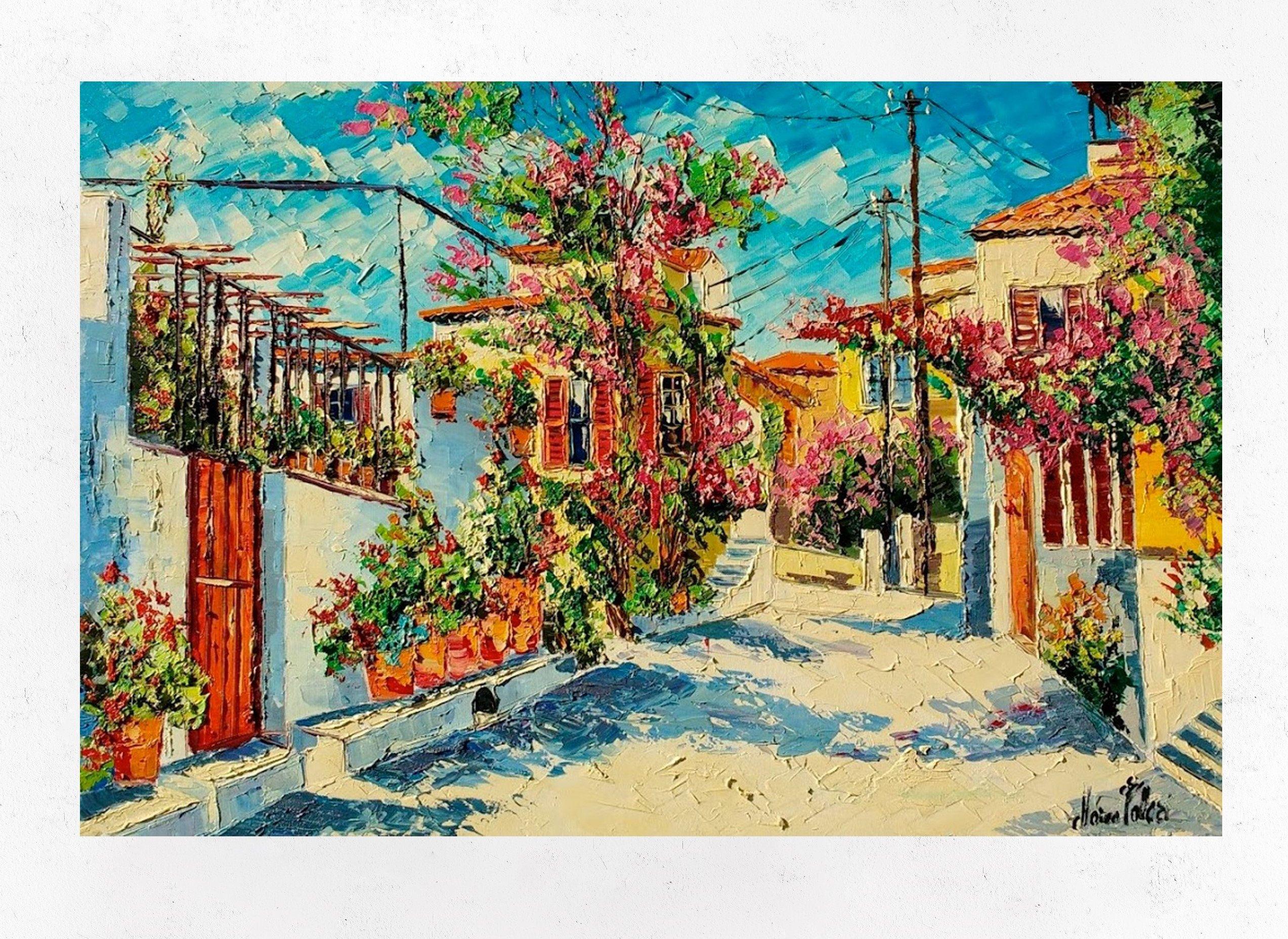 Santorin Pittura Su Tela Grecia Decorazione Di Arte Murale Etsy Olio Su Tela Santorini Pittura Su Tela