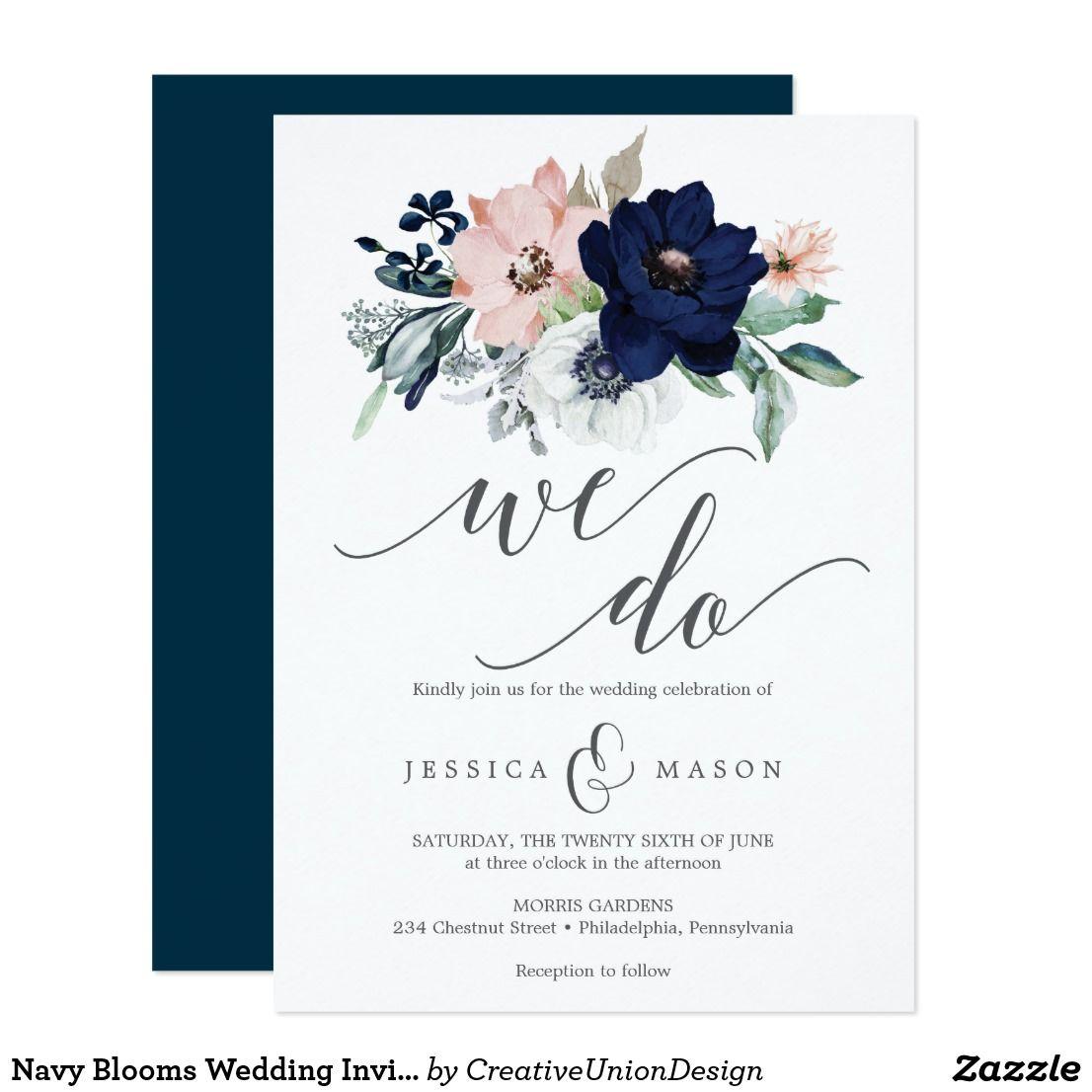 Navy Blooms Wedding Invitation Zazzle Com Wedding Invitations Wedding Invitations Boho Cheap Wedding Invitations