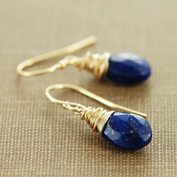 Hey, I found this really awesome Etsy listing at https://www.etsy.com/listing/101101955/lapis-lazuli-gold-dangle-earrings-blue