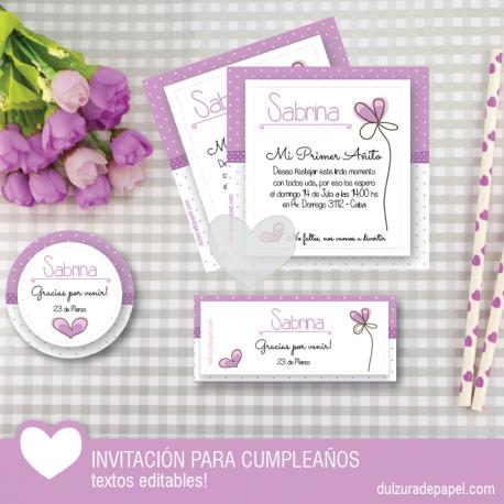 Invitaciones Imprimibles Con Diseño De Corazones Niña