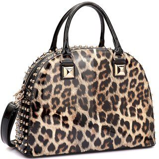 Dasein Patent Rhinestone Studded Dome Zip Around Flat Bottom Fashion Handbag  (Multi) 7e7d5a45dcaae