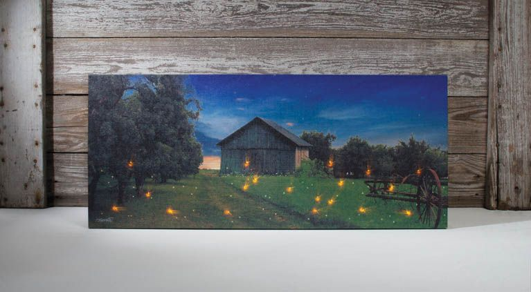 Lighted Canvas Wall Art Fireflies Summer Field Filled With