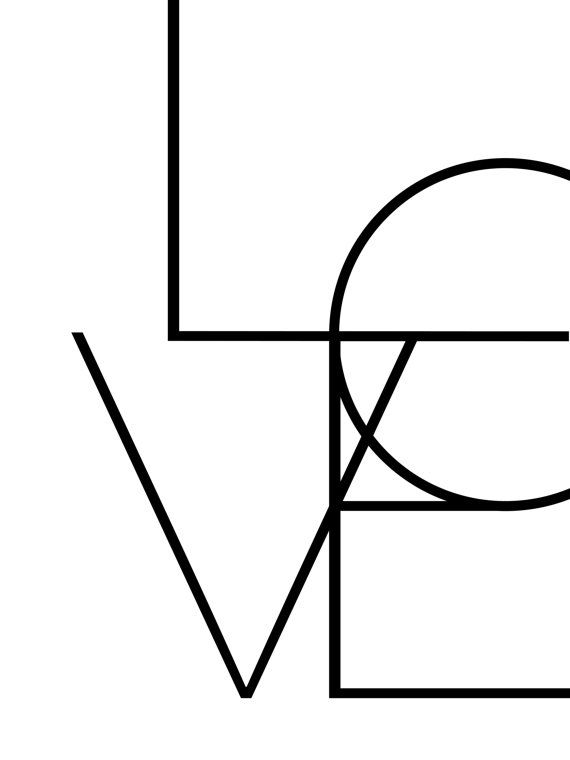 Black and White, Geometric LOVE Typography - Perfect artwork for the modern black and white home.  NO PHYSICAL PRINTS INCLUDED - DIGITAL