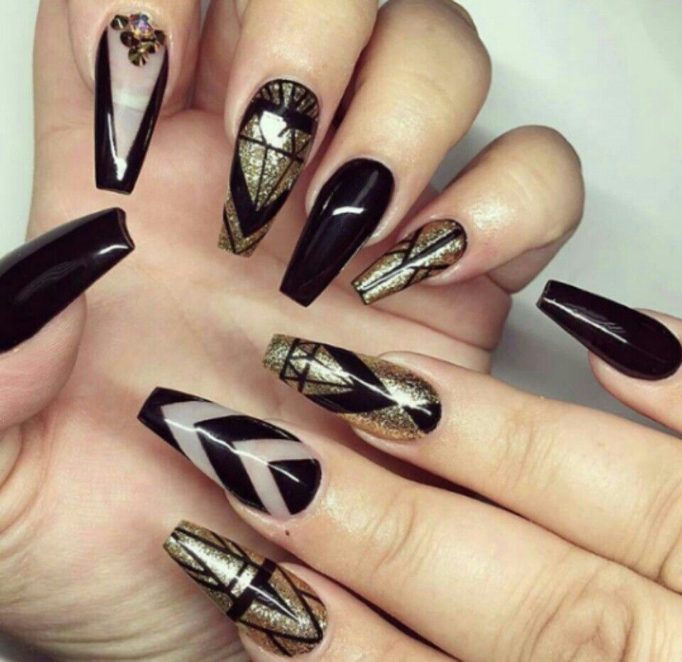 Gold Nail Designs Beautiful Art Nails Design Black Treatment Accent Coffin Fancy