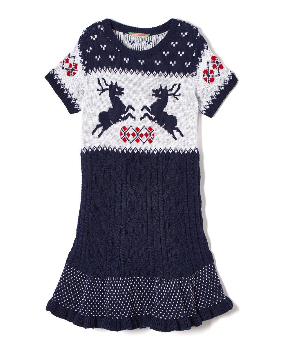 d8d4bac285e Navy   Bone Reindeer Holiday Sweater Dress - Toddler   Girls