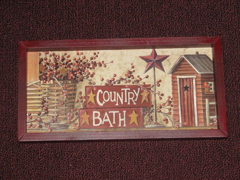 PRIMITIVE COUNTRY BATH WALL DECOR 6 INCHES X 12 INCHES in Home ...