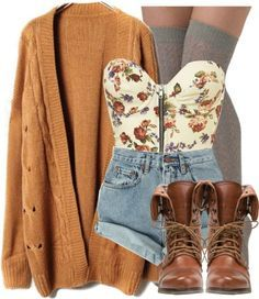 Gilet camel short en jean taille haute bustier fleuris style vintage c  mignon!