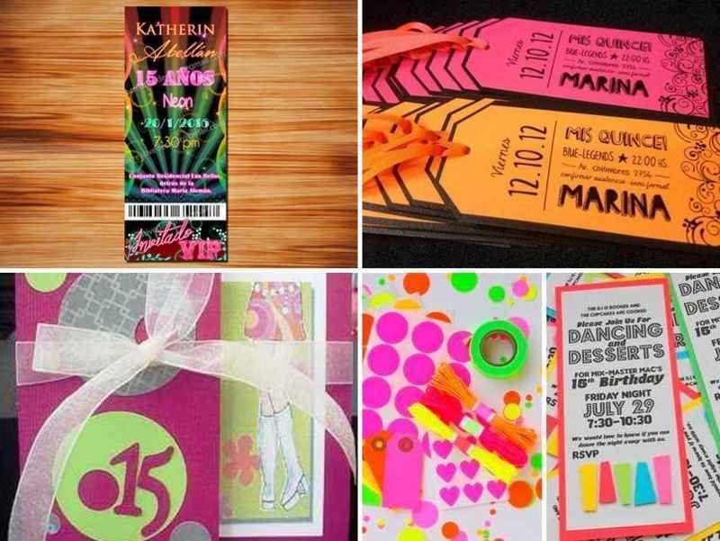 Tarjetas De Invitaciones De 15 Años En Neon 3 Tile