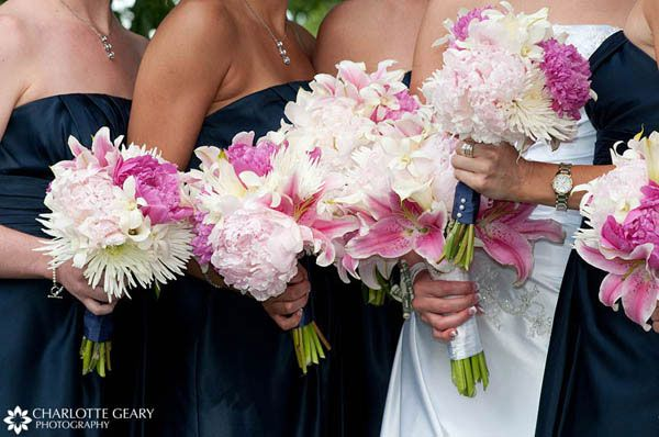 Navy Dresses With Pink Flowers