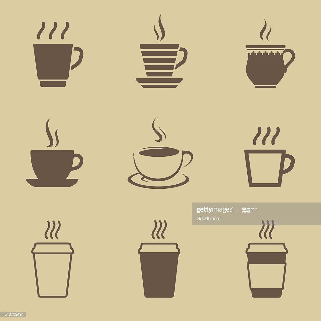 Coffee Or Tea Cup Icon Set Coffee Cup Icon Starbucks Illustration Coffee Shop Logo